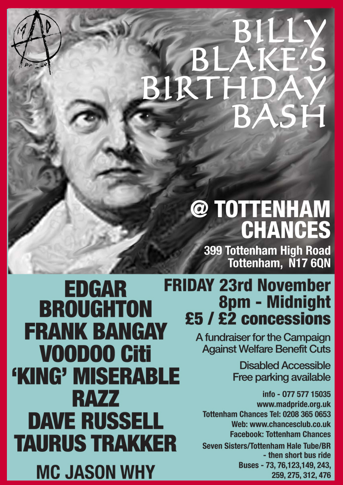 Mad Pride Gig feat. Edgar Broughton at Tottenham Chances on 23rd November 2012 - Edgar Broughton - Frank Bangay - Voodoo Citi - Dave Russell - Taurus Trakker - King Miserable - RazzS- MC Jason Why