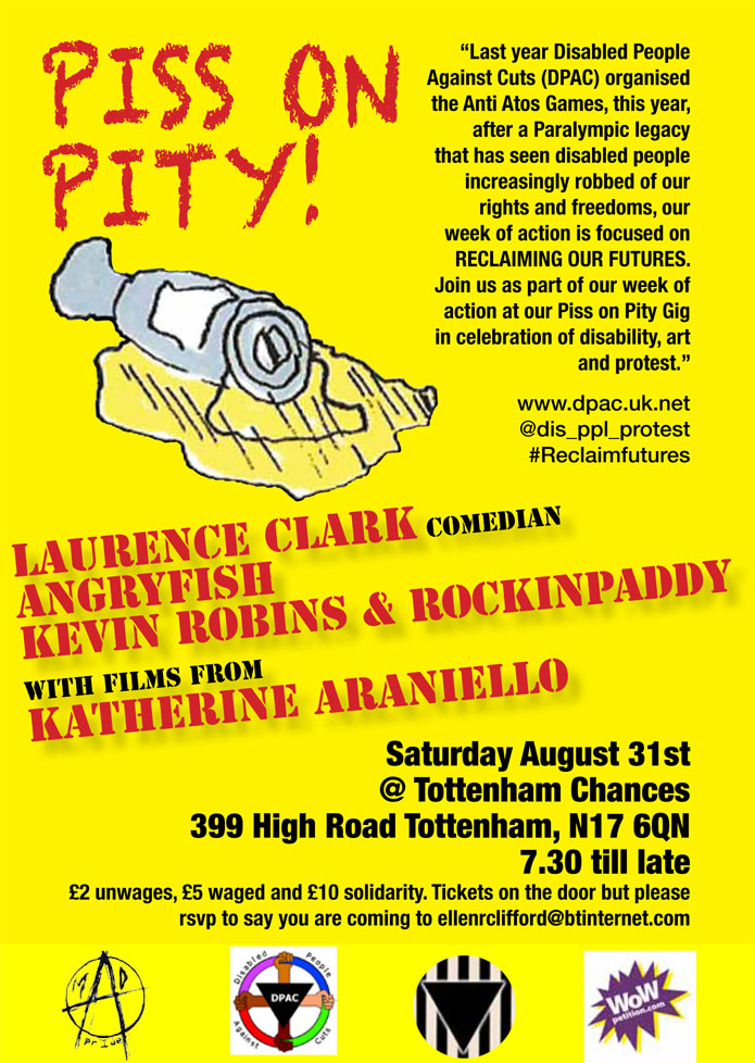 Gig - Piss on Pity Event -  at Tottenham Chances on August 31st 2013 -  Lawrence Clark - comedian / Angryfish / Kevin Robins and Rockinpaddy / films from Ketherine Araniello