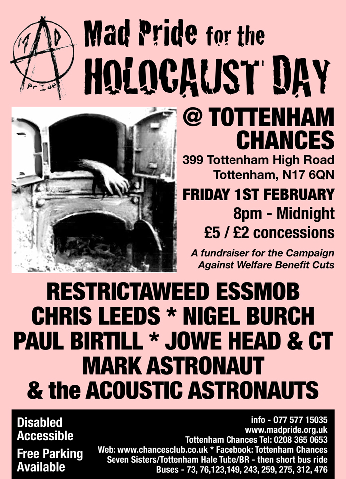 Mad Pride Gig feat. Edgar Broughton at Tottenham Chances on February 1st 2013 - RESTRICTAWEED ESSMOB - Chris Leeds - Nigel Burch - Paul Birtill - Jowe Head - Mark Astronaut - MC Jason Why