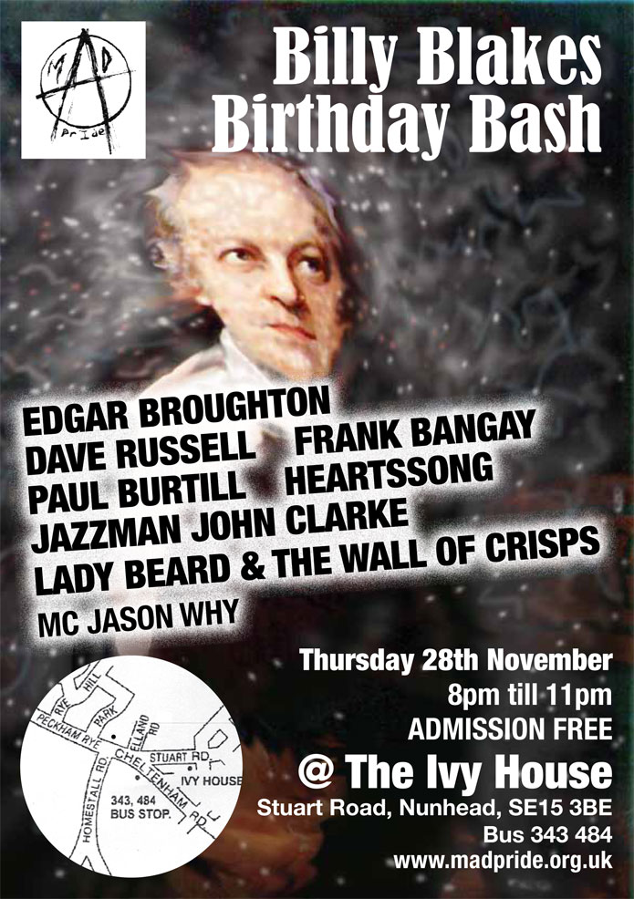 Gig - Billy's Birthday Bash -  at The Ivy House, Nunhead on November 28th 2013 - EDGAR BROUGHTON / PAUL BIRTILL / DAVE RUSSELL / FRANK BANGAY / HEARTSSONG / JAZZMAN JOHN CLARKE / LADY BEARD & THE WALL OF CRISPS / MC JASON WHY