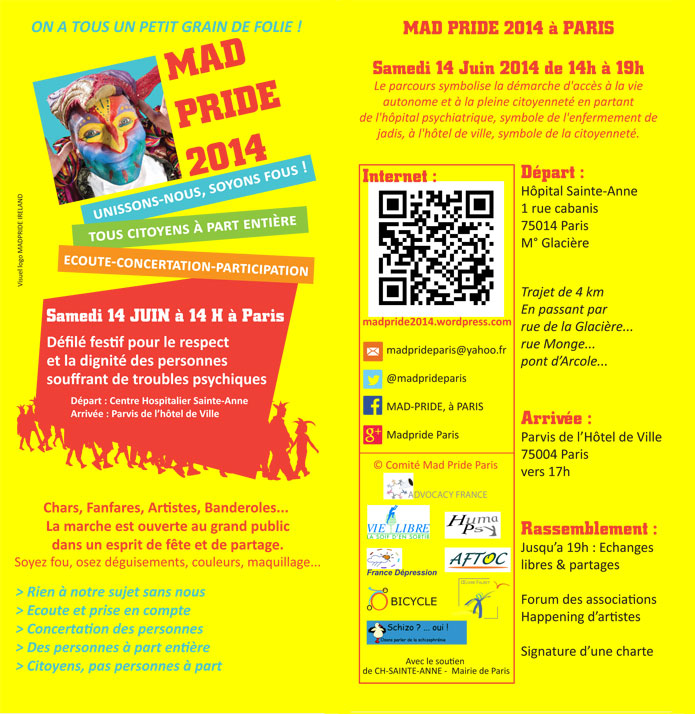 First Mad Pride Paris Event - June 14th 2014 - Flyer